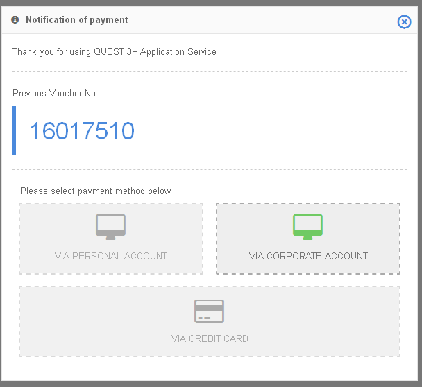 4 Easy Steps For Online Payment in QUEST3+ System : Payment Via Credit Card